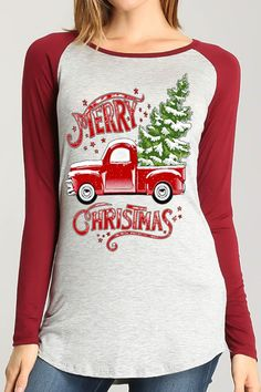 This top is sure to spread holiday cheer! This raglan style top features a heather gray body and burgundy sleeves. This shirt is a long sleeve fitted shirt and is very soft!