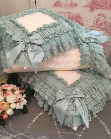 Today's baby bed is a new design I just made one to try it out. I think it looks so sweet, perfect for newborn babies till about Lace Bedding, Doll Bedding, Costura Diy, Ruffle Pillow, Diy Cushion, Brown Pillows, Doll Beds, Sewing Pillows, Cute Home Decor
