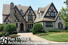 Browse Tudor house plans with photos. Compare hundreds of plans. Watch walk-through video of home plans. Style At Home, Tutor Style Homes, Maison Tudor, Casas Tudor, Casa Estilo Tudor, Tudor House Exterior, English Tudor Homes, French Country Bedrooms, Home Plans