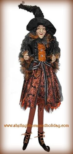 RAZ Halloween 43 inch Posable Sitting Witch in Orange Dress  shelley b home and holiday