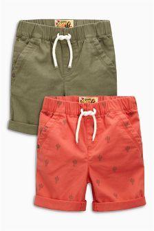 Next Khaki/Coral Cactus Shorts Two Pack (3mths-6yrs) £11.50