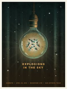 Gig poster Explosions in the Sky, San Antonio - DKNG Studios Graphic Design Posters, Graphic Design Illustration, Graphic Design Inspiration, Poster Designs, Old Posters, Web Design, Print Design, Inspirational Posters, Concert Posters