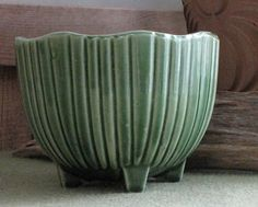 McCoy Footed Green Planter Ribbed Round Small Florist Ware