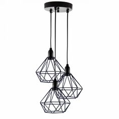 Lustre com 3 Pendentes Aramado Diamante - PRETO - Design Estilo Industrial Bougie Candle, Outside Christmas Decorations, Geometric Lamp, Dining Room Lighting, Bedroom Lighting, Metal Furniture, Industrial Style, Light Fixtures, Interior Decorating