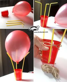 Flying balloon making; 1 balloon, 3 pipettes and 1 cup with Cappadocia flying balloons can do. One of the trends in recent times is to use a flying balloon in Flying Balloon, Air Balloon, Balloons, Science Experiments Kids, Science For Kids, Science Projects, Preschool Crafts, Fun Crafts, Paper Mache Crafts For Kids