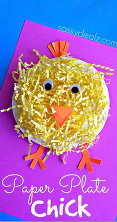 Paper Plate Chick Craft Using Easter Grass.Make an adorable paper plate chick craft for Easter using yellow Easter grass! It's the perfect art project for a farm activity or just the holiday. Easter Projects, Easter Art, Easter Crafts For Kids, Toddler Crafts, Easter Ideas, Children Crafts, Easter Eggs, Kids Diy, Diy Projects