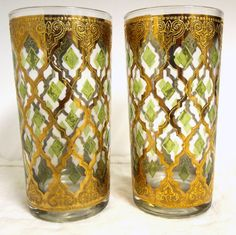 Culver Glass Tumblers Gold and Green-Glass Tumblers