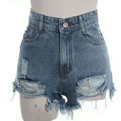 Blue Jean High Waisted Destroyed Denim Shorts New Arrivals  Medium Blue Factory Destroyed Denim Shorts  Sizes available: Small, Medium & Large          No Trades Price Firm ✈✈Ships Same Or Next Day✈✈ Shorts Jean Shorts
