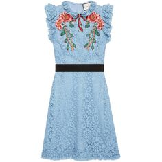 Gucci Embroidered Cluny Lace Dress (73,920 MXN) ❤ liked on Polyvore featuring dresses, light blue, light blue cocktail dress, lace applique dress, blue lace dress, blue dress and flower print dress