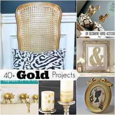 Gold is back! Whether you love it or hate it, you have to admit that these project ideas are pretty awesome! 40+ Gold Projects via RainonaTinRoof.com