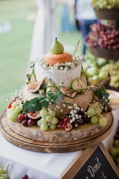Rustic Vintage Winery Wedding Cheese Tower Cake // Photography ~ Bless Photography #wineries