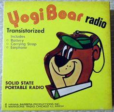 Vintage Yogi Bear Novelty Transistor Radio, Copyright Hanna Barbera, Inc., A Marksons' Radio, Chicago, Ill 60654, Made in Hong Kong.