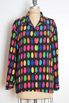 71f21d2a31b29 vintage 80s top black colorful rainbow polka dot print blouse shirt XL XXL  plus size oversized