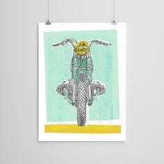 Vintage BMW Motorcycle Art Print
