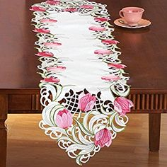Amazon.com: Embroidered Floral Tulip Table Linens, Runner: Home & Kitchen