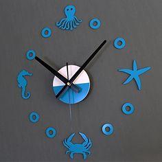 Yikebo(TM) Starfish Hippocampus Crab Octopus Ocean World Creative DIY Self Adhesive Acrylic Living Room Decoration Digital Wall Clock Quartz 3D Home Décor Retro Art Watch Kid's Room Décor (Blue), http://www.amazon.com/dp/B00SKK07JG/ref=cm_sw_r_pi_awdl_2-39ub1V3CNHM