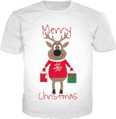 Merry Christmas Reindeer Super cute Christmas tshirt design.