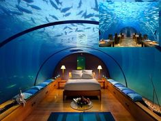 Hotel Conrad, Rangali Island, Maldives :    The hotel is famous for its exciting honeymoon suite underneath the sea with panoramic views of the marine life. Rangali is an island of Alif Dhaal Atoll connected by a foot bridge by its neighboring island Rangalifinolhu.