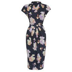 'Emma' Black Nostalgic Floral Print Wiggle Dress