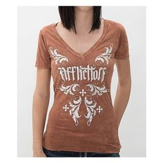 Affliction Jocelyn T-Shirt ($44) ❤ liked on Polyvore featuring tops, t-shirts, brown, v neck tee, crochet t shirt, graphic design t shirts, affliction t shirts and graphic t shirts