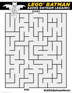 This maze is so easy, even little kids can do it. Also, while this is not an accurate portrayal of how I save Gotham, it IS fun. Click here to print!  http://pdl.warnerbros.com/wbol/ww/movies/legobatman/pinterest/LEGB_ColoringBoard_BatmanMaze_v1.pdf | The LEGO® Batman Movie | In theaters now