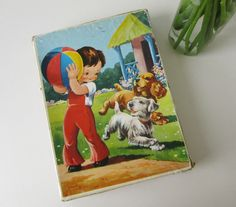 Vintage Wooden Children's Puzzle of a Boy and a Dog playing with a Ball in the Garden 60s   16189 door Vantoen op Etsy