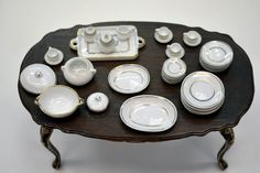 32 Piece Dinner Set - White with gold. [LP-DS-128-WTG] : Cynthia Howe Miniatures!, Your premier source for Dollhouse Miniatures, Miniature Classes, Miniature Dolls and Molds, Kits and Free Tutorials.