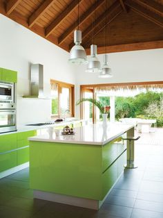 41 Vintage Kitchen Design Ideas With Tropical Feel To Try Right Now - Decorative items are to your room design what jewelry is to an outfit, and your Tropical interior decorating theme is no exception. You want to accent. Lime Green Kitchen, Tropical Kitchen, Green Kitchen Cabinets, Kitchen Colors, New Kitchen, Vintage Kitchen, Kitchen Decor, Kitchen Design, Kitchen Interior