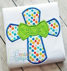 Cross Bow Tie Applique - 4 Sizes! | What's New | Machine Embroidery Designs | SWAKembroidery.com Creative Appliques