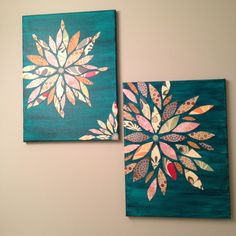 Wall art made from canvas, acrylic paint, and scrap paper. Sealed with mod podge.