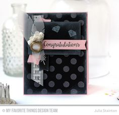 Bling It On Stamp Set, Accent It - Feathers and Arrows Die-namics, Double Stitched Rectangle STAX Die-namics, Blueprints 20 Die-namics, Blueprints 13 Die-namics, Large Polka Dot Stencil - Julia Stainton  #mftstamps