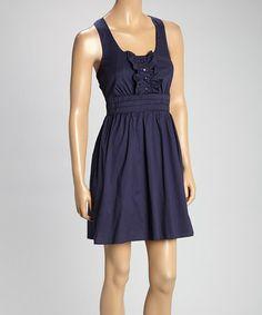 Navy Ruffle Empire-Waist Dress