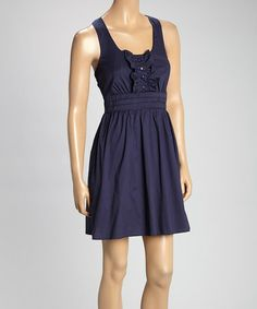Love this Navy Ruffle Empire-Waist Dress on #zulily! #zulilyfinds