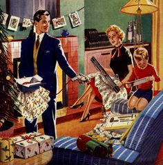 A Mid-Century Christmas Morning... Because didn't we all dress up for Christmas morning? Not!