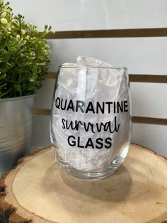 Excited to share this item from my shop: Quarantine Survival Glass Funny Wine Glasses, Glitter Wine Glasses, Stemless Wine Glasses, Painted Wine Glasses, Birthday Wine Glasses, Decorated Wine Glasses, Wine Glass Sayings, Wine Glass Crafts, Bottle Crafts