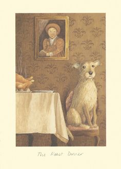 """""""ROAST DINNER"""" by Alison Friend - A Two Bad Mice Greeting Card"""