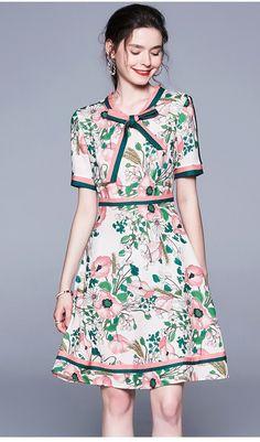 Vintage Elegant Long Sleeve Belted Collar Floral Print Dress - Uniqistic.com