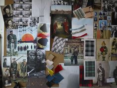 Tartans, kilts, pipers, tweed, wool sweaters, fabric samples, vintage images. Whatever fashion designer Angelique Chmielewski designed from this, I want it. (Inspiration board/mood board/picture wall, artist studio/office.)