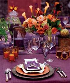 purple and orange table setting