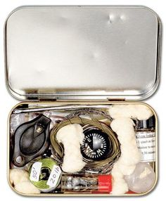 How to Make a Survival Kit in an Altoids Tin- small and handy, includes a compass, the boy scout in him would be proud!