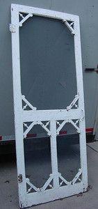 Vintage Wooden Screen Door Shabby Paint White | eBay