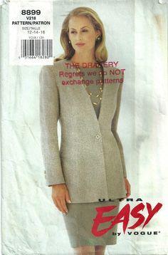 Vintage Pattern 1990s Vogue Shift Dress Long Jacket – UK 16   eBay