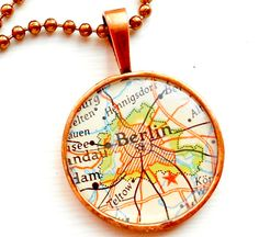 Get maps. Make charms or buttons or magnets or something.  Berlin Germany Vintage Map Necklace with by DesignsbyTaylor2u, $28.00