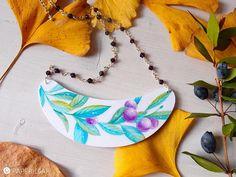collana stile botanico MYRTILLUS, collana di carta dipinta a mano, pendente a pettorina, catena rosario argento 925 doppia lunghezza