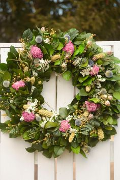Large Pink Peony Spring wreath, Pink and White Wreath, Pink and Blue Wreath, Dried Flower wreath,  spring wreath