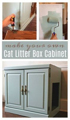 Are you looking for a way to hide your cat's litter box? DIY from an old cabinet to make this cat litter box furniture on any budget! AD #CatsLoveNutrish #catsdiylitterbox