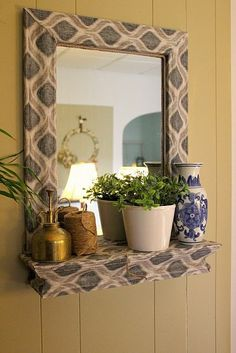 fabric n modpodged mirror. awesome.