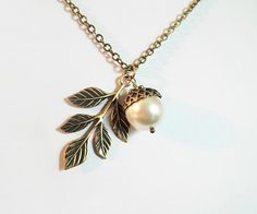 Acorn and Oak Leaf Necklace Swarovski Crystal Pearl Spring Summer Autumn Fall Winter Fashion Plus Size Jewelry Friendship Gift