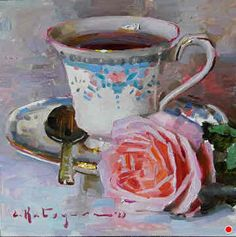 Tea Cup Art, Tea Cups, Cafe Art, Still Life Photography, Pictures To Paint, New Artists, Fine Art Gallery, Art Projects, Tea Time