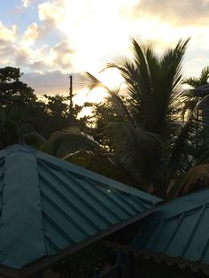 Sun going down over the roof top of Country Country, Negril 12/25/13